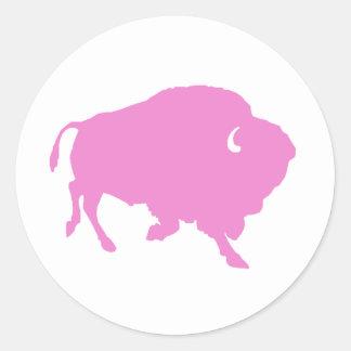 pink buffalo round sticker