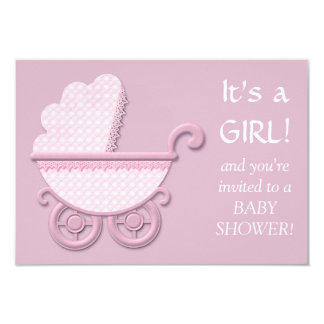 Pink Buggy Baby Girl Shower Card
