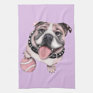 Pink Bulldog Baseball Towel