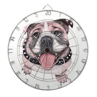Pink Bulldog dog Dart Board Game