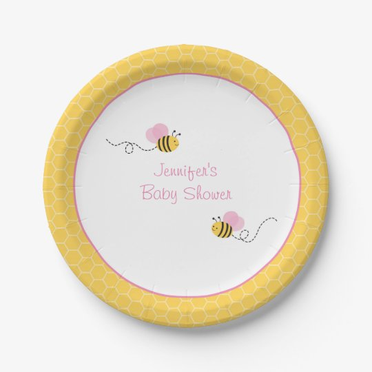 Pink Bumble Baby Shower 7 Inch Paper Plate