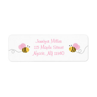 Pink Bumble Bee Address Return Address Label