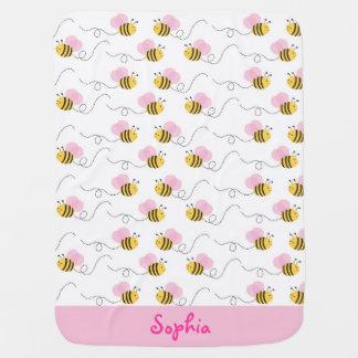 Pink Bumble Bee Baby Blanket