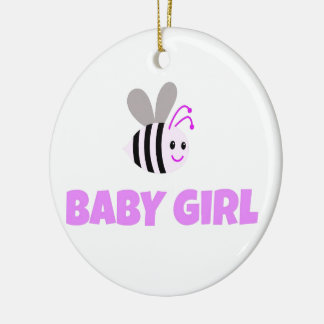 Pink Bumble Bee Baby Girl Round Ceramic Decoration