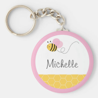 Pink Bumble Bee Basic Round Button Key Ring