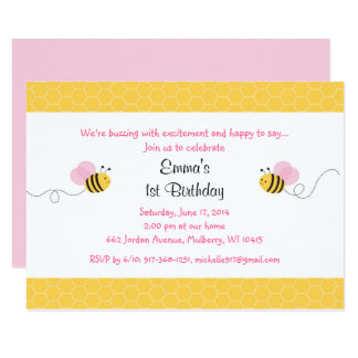 Pink Bumble Bee Birthday Card