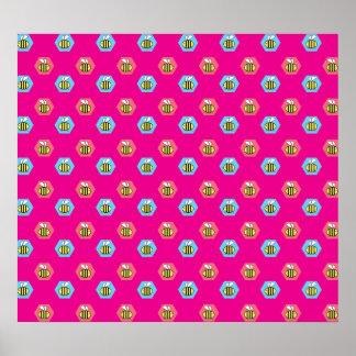 Pink bumblebee pattern print
