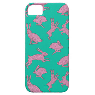 Pink Bunnies on Green Phone Case