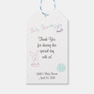 Pink Bunny Baby Shower Gift Tags