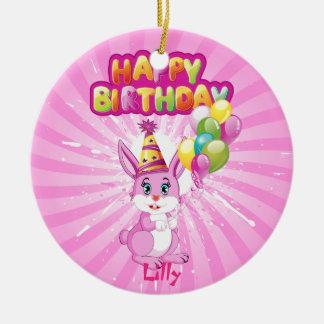 Pink Bunny Birthday Cartoon Christmas Ornament