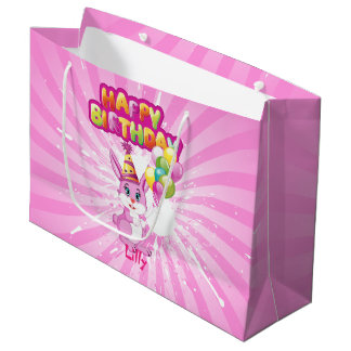 Pink Bunny Birthday Cartoon Large Gift Bag