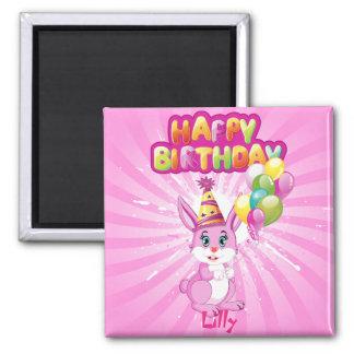 Pink Bunny Birthday Cartoon Magnet