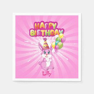 Pink Bunny Birthday Cartoon Paper Napkin