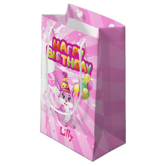 Pink Bunny Birthday Cartoon Small Gift Bag
