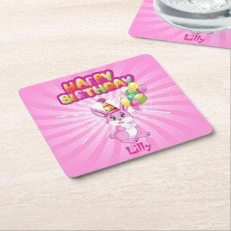 Pink Bunny Birthday Cartoon Square Paper Coaster