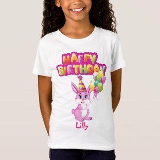Pink Bunny Birthday Cartoon T-Shirt