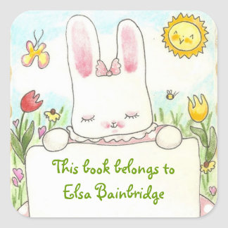 Pink bunny bookplate square sticker