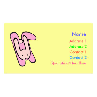 pink bunny business card template