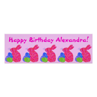 Pink Bunny Easter Themed Birthday Party Banner Posters