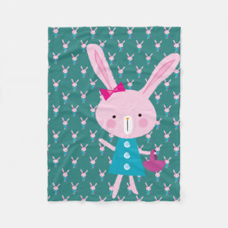 Pink Bunny Fleece Blanket