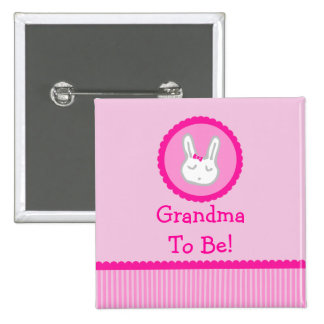 "Pink Bunny ""Grandma To Be"" Baby Shower Button"