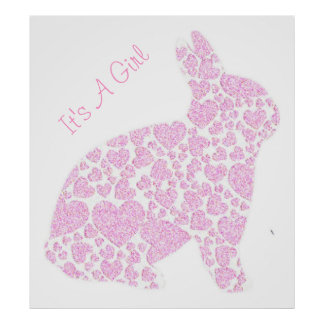 Pink Bunny Its a Girl Baby Shower Sign Game Poster