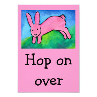Pink Bunny Kid s Birthday invitation