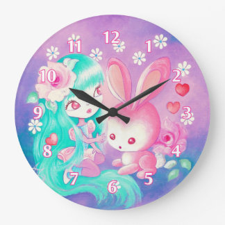 Pink Bunny Love Large Clock