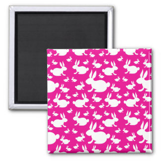 Pink Bunny Pattern Refrigerator Magnet