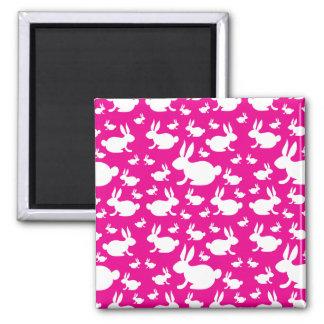 Pink Bunny Pattern Refrigerator Magnet