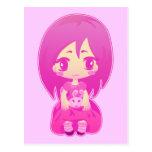 Pink bunny post card