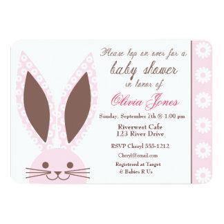 "Pink Bunny Rabbit Baby Shower Invitation custom 5"" X 7"" Invitation Card"