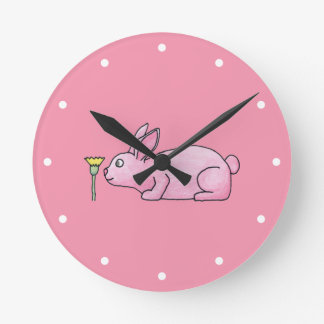 Pink Bunny Rabbit. Wallclocks