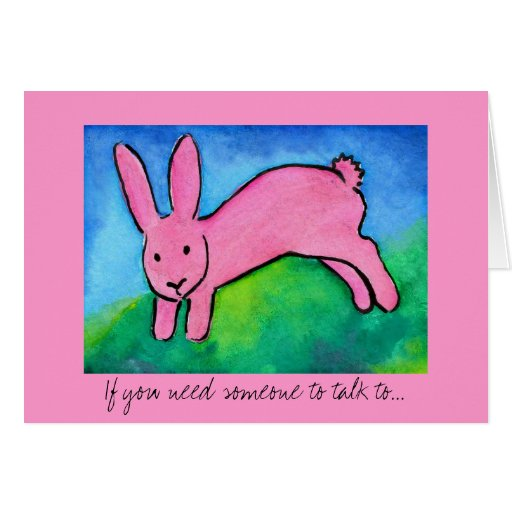 Pink Bunny Rabbit note card