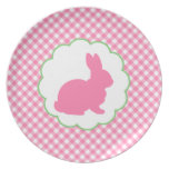 Pink Bunny Silhouette Party Plates