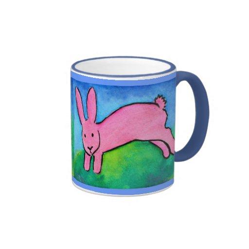 Pink Bunny with blue handle Mug