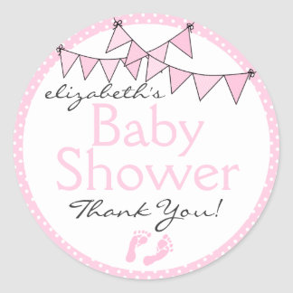 Pink Bunting Baby Shower Thank You Classic Round Sticker