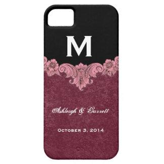 Pink Burgundy Black Vintage Monogram Wedding V30D iPhone 5 Cases