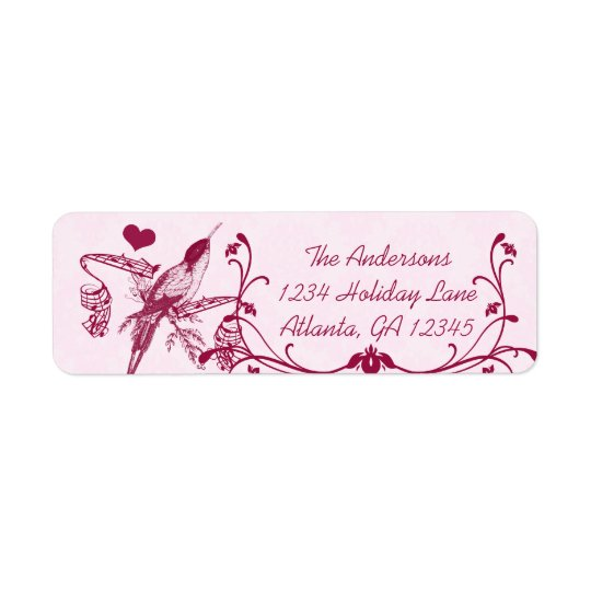 Pink & Burgundy Damask Musical Vintage Hummingbird