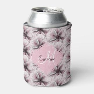 Pink Burgundy  Floral Monogram Can Cooler