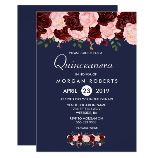 Pink Burgundy Floral Navy Blue Quinceanera Invite