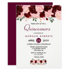 Pink & Burgundy Floral Quinceanera Invitation