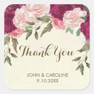 pink burgundy floral wedding thank you sticker