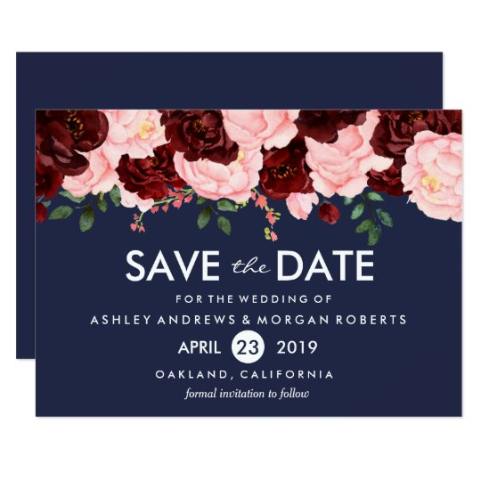 Pink Burgundy Flowers Navy Wedding Save The Date Card