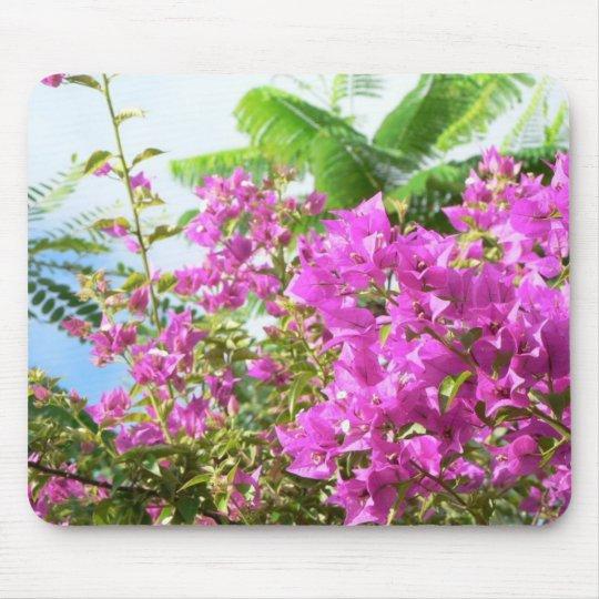 Pink Bush Flowers Mouse Mat