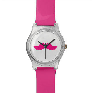 Pink Bushy Mustache Moustache Funny Angel Wings Watch