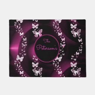 Pink Butterflies, Add surname Doormat