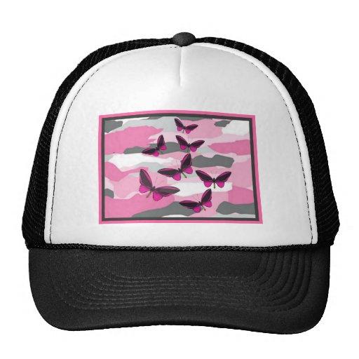 PINK BUTTERFLIES AND CAMO PRINT MESH HAT