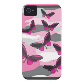 PINK BUTTERFLIES AND CAMO PRINT iPhone 4 CASE
