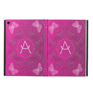 Pink Butterflies and Silver Scrolls ipad Case